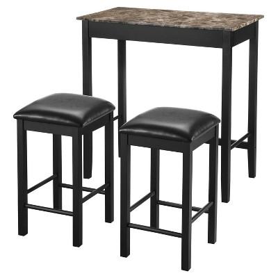3 Piece Faux Marble Pub Dining Set - Black - Dorel Living®