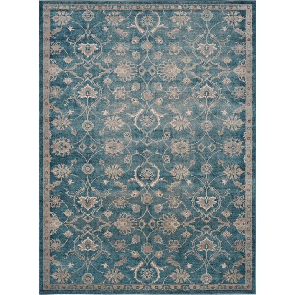 Floral Loomed Area Rug Blue/Beige
