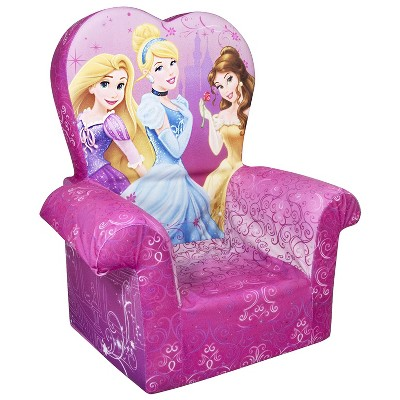 Marshmallow Furniture Comfy Foam Toddler Chair Kid's Furniture for Ages 2 Years Old and Up, Disney Princess Themed