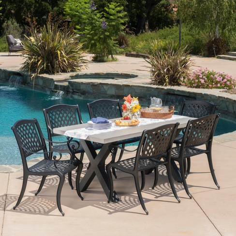 Capri 7pc Cast Aluminum and Concrete Dining Set - Black Sand - Christopher Knight Home - image 1 of 4