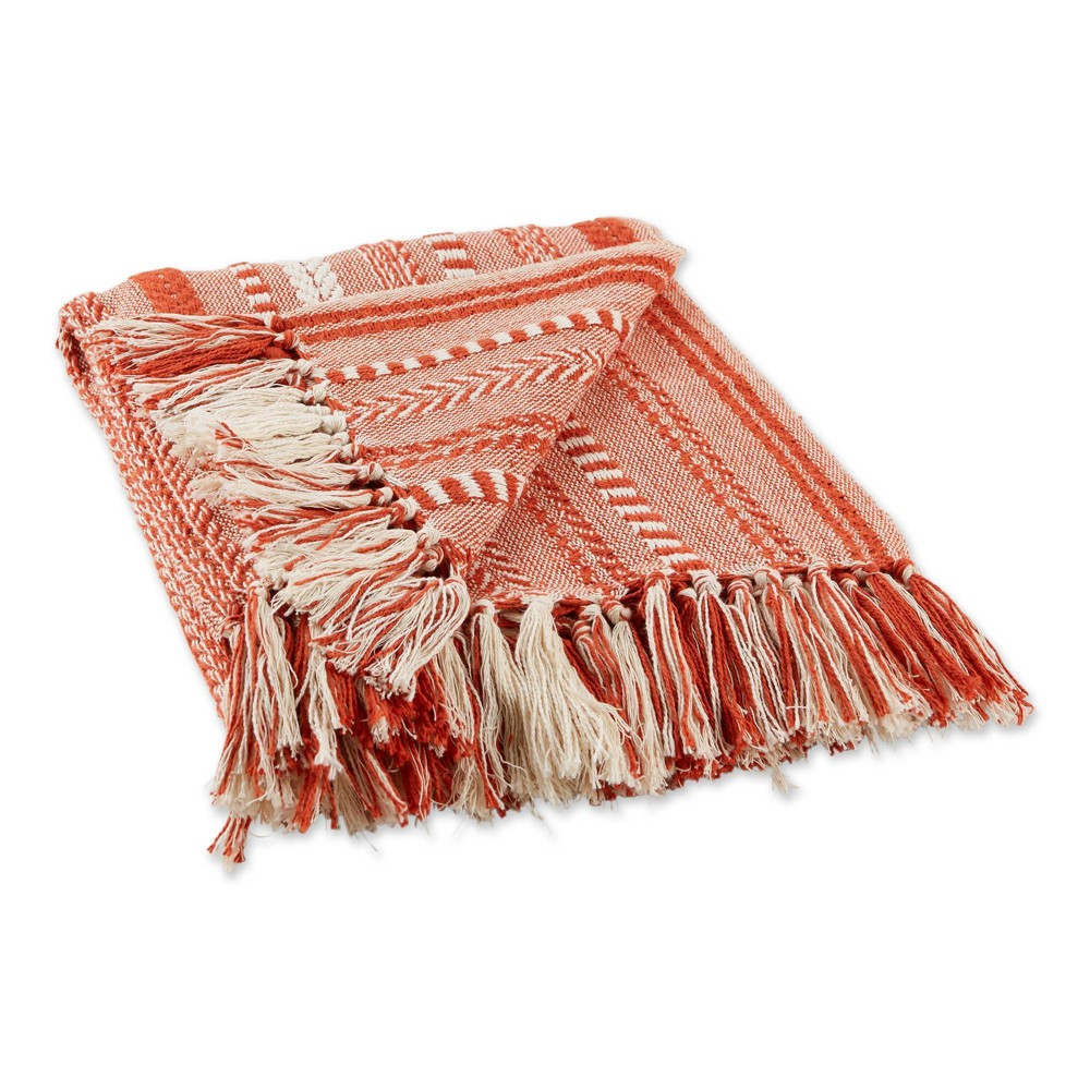 50 34 X60 34 Braided Striped Throw Blanket Red Design Imports