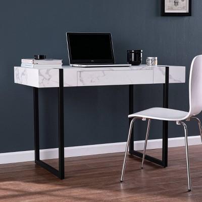Wennan Modern Faux Marble Desk Black/White - Aiden Lane