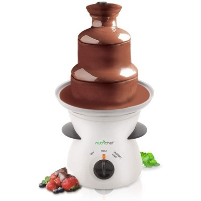 NutriChef PKFNMK16.5 Electric Countertop 3 Tier Stainless Steel Fondue Maker Fountain for Melted Chocolate, Cheese, Liqueurs, Caramel Dip, White