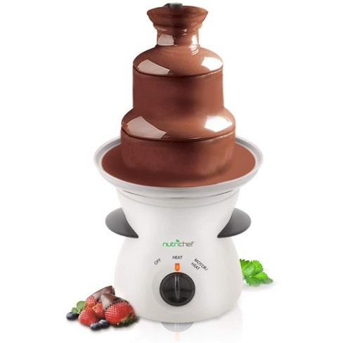NutriChef PKFNMK16.5 Electric Countertop 3 Tier Stainless Steel Fondue Maker Fountain for Melted Chocolate, Cheese, Liqueurs, Caramel Dip, White - image 1 of 4