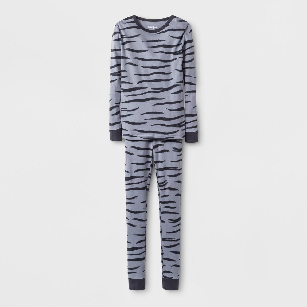 Kids' Zebra Graphic Pajama Set - Cat & Jack Charcoal/Black 8, Kids Unisex, Gray