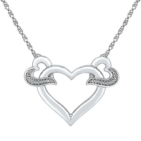 Diamond Accent White Diamond Prong Set Heart Necklace in Sterling Silver (IJ-I2-I3) - image 1 of 1