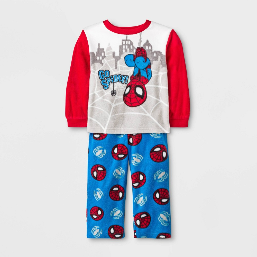 Image of Baby Boys' 2pc Marvel Spider-Man Fleece Pajama Set - Blue/Gray/Red 12M, Boy's