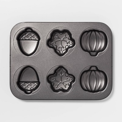 """13.8"""" x 10.5"""" Steel Fall Shapes Cakelette Pan Silver - Threshold™"""