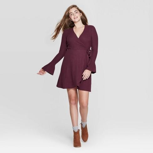 Women's Long Sleeve V-Neck Wrap Sweater Knit Mini Dress - Xhilaration™ - image 1 of 2