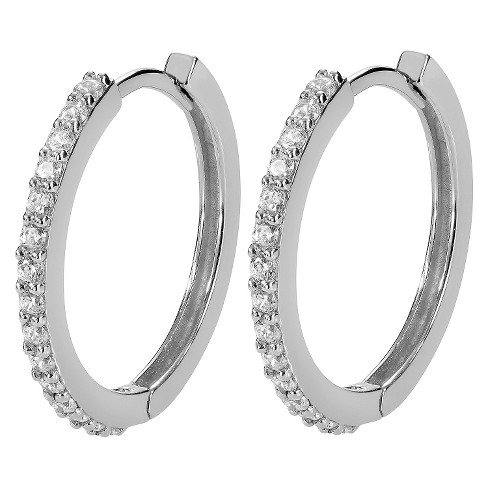 1/3 CT. T.W. Round-cut CZ Pave Set Hoop Earrings in Sterling Silver - Silver (20MM) - image 1 of 2