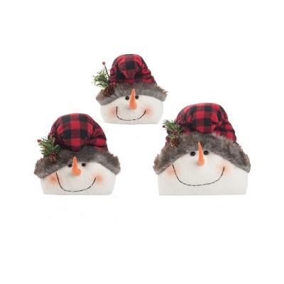 C&F Home Buffalo Check Snowmen Figure Set of 3