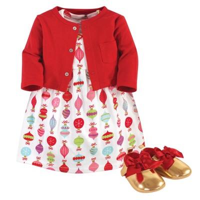 Little Treasure Baby Girl Cotton Dress, Cardigan and Shoe 3pc Set, Glitzmas