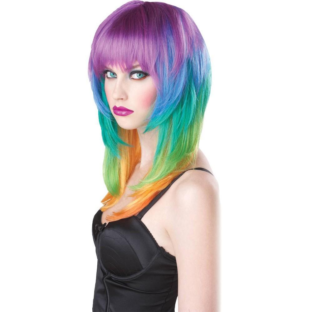 Image of Halloween Kaleidoscope Rainbow Costume Wig - One Size, Women's