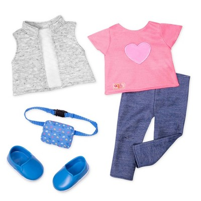 """Our Generation Travel Outfit with Fanny Pack for 18"""" Dolls - Trendy Traveler - Pink"""