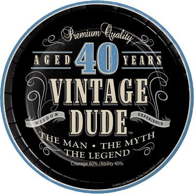 24ct Vintage Dude 40th Birthday Dessert Plates Black