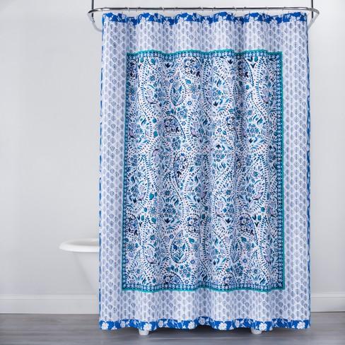 Bandana Print Shower Curtain Blue