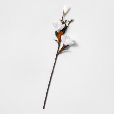28  Artificial Magnolia Flower Stem White/Green - Threshold™
