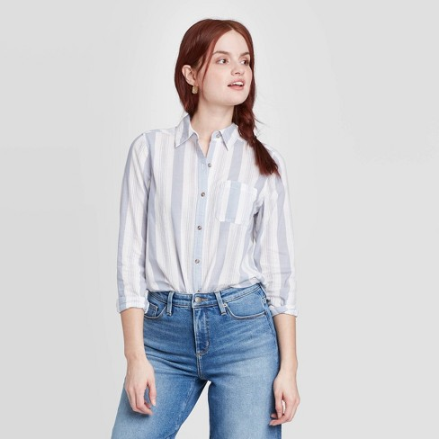 Women's Striped Long Sleeve Button-Down Shirt - Universal Thread™ - image 1 of 3
