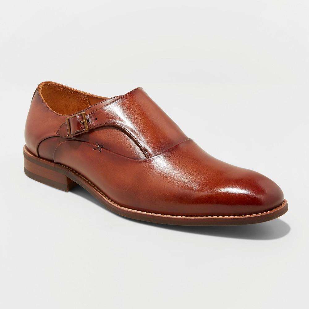 Men's Keanu Leather Monk Strap Dress Shoes - Goodfellow & Co Tan 9.5, Brown