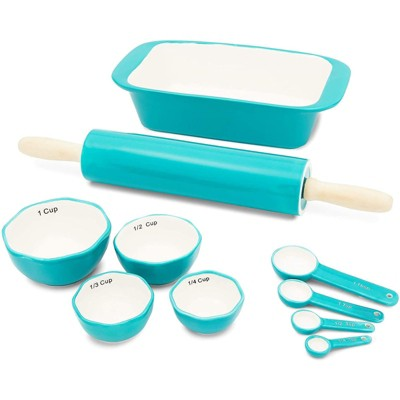 Juvale 10 Piece Set - Ceramic Bakeware with Loaf Pan, Rolling Pin, Spoons & Cups for Baking, Teal