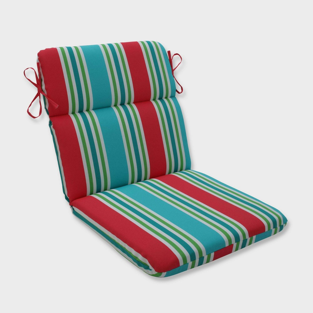 Aruba Stripe Rounded Corners Outdoor Chair Cushion Blue - Pillow Perfect
