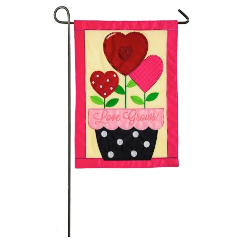 Valentine's Day Love Grows Garden Applique Flag - image 1 of 1