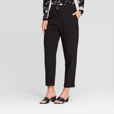 Women's Mid Rise Straight Leg Trouser   Who What Wear™ Black by Who What Wear