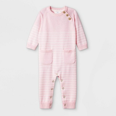 Baby Girls' Basic Striped Coverall - Cloud Island™ Pink