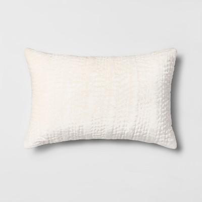 Quilted Velvet Lumbar Throw Pillow Cream - Opalhouse™