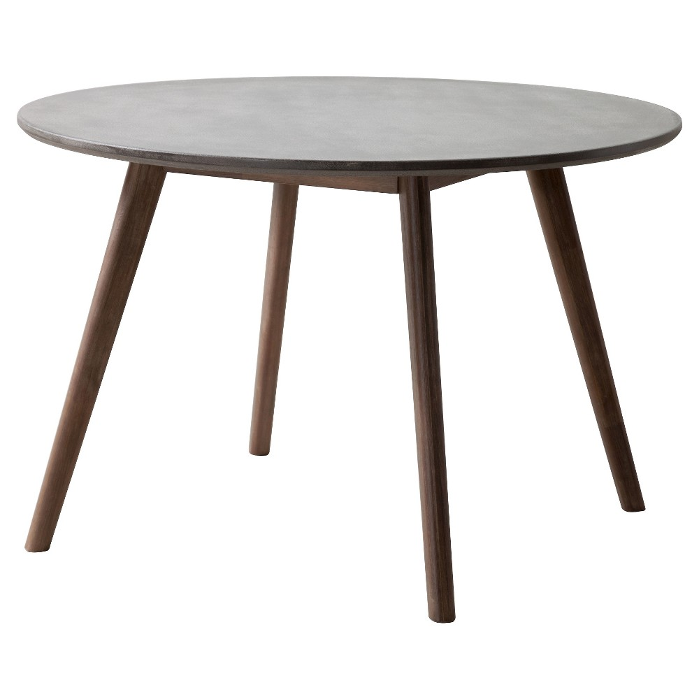 Industrial Round Concrete and Wood 45 Dining Table - ZM Home, Gray