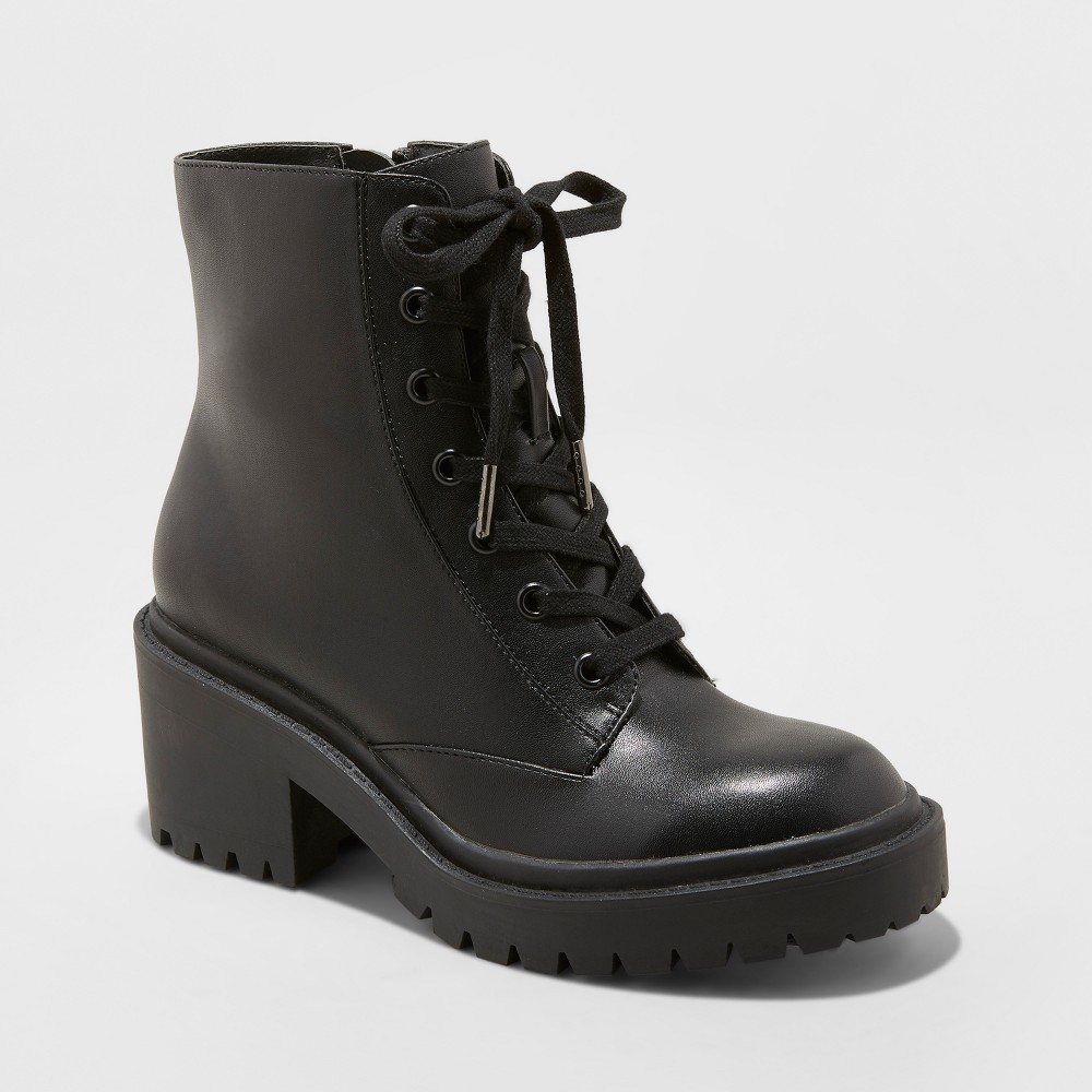 Women's Lupe Ww Faux Leather Wide Width Combat Boots - Universal Thread Black 7W, Size: 7 Wide