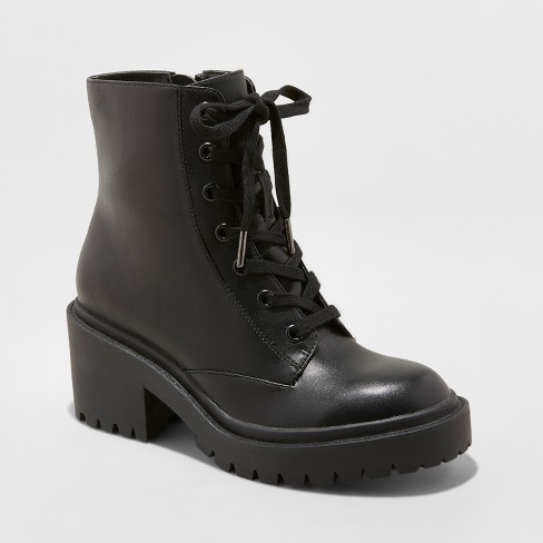 780dc236e367 Women s Lupe Faux Leather Wide Width Combat Boots - Universal Thread™ Black    Target