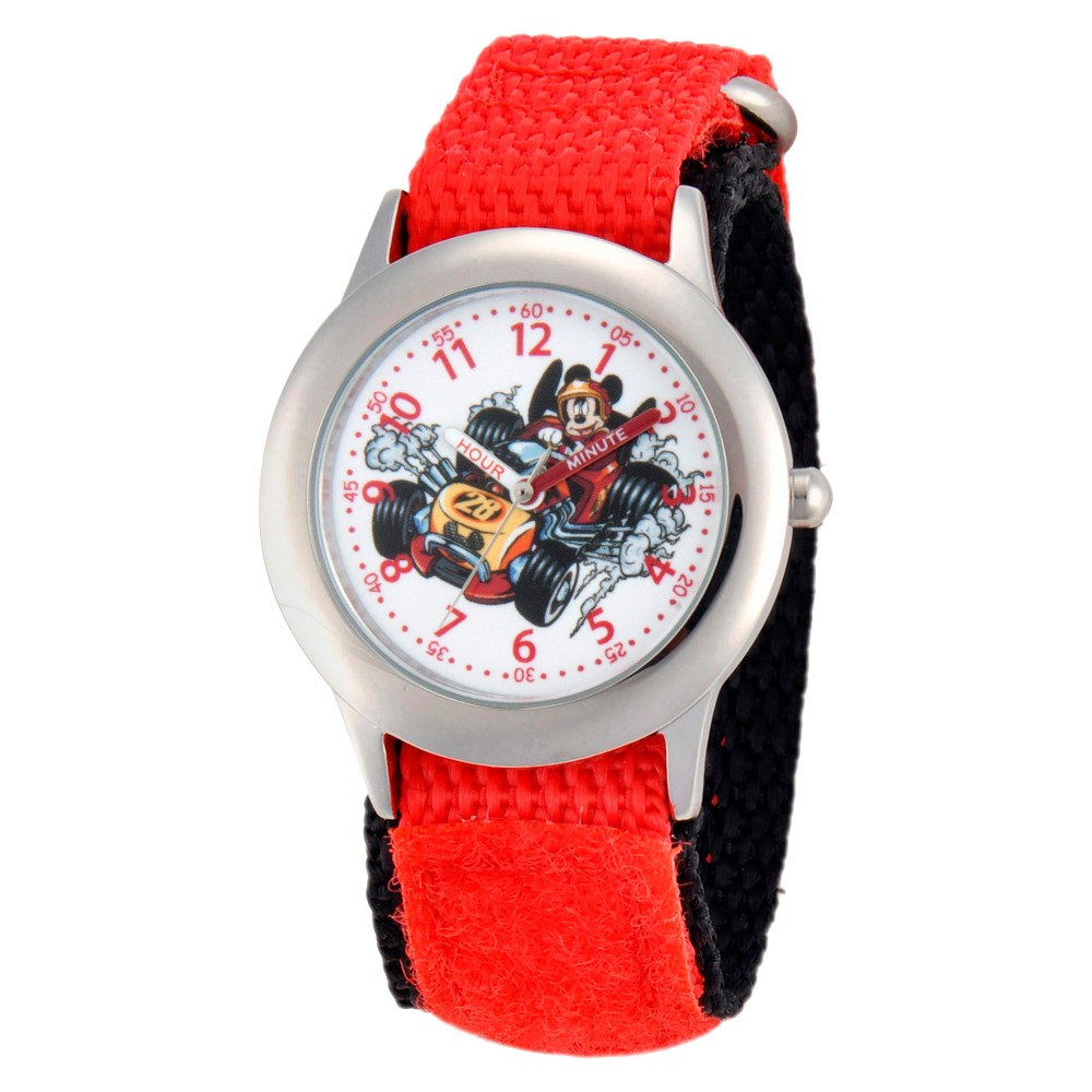 Boys' Disney Mickey Mouse Stainless Steel Time Teacher Watch - Red