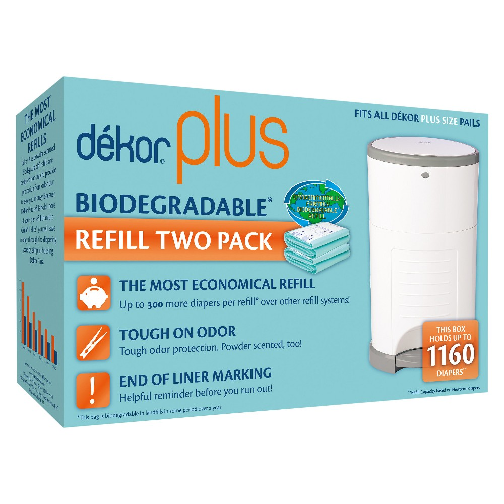 Image of Dekor Plus Diaper Pail Biodegradable Refills - 2pk, Green