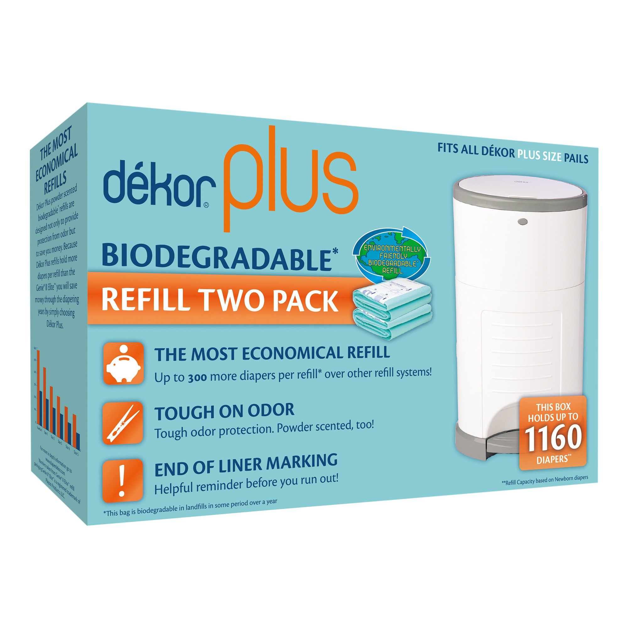 Dekor Plus Diaper Pail Biodegradable Refills - 2pk, Green