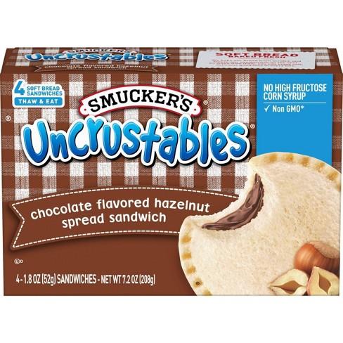 Smucker's Uncrustables Chocolate Flavored Hazelnut Spread Frozen Sandwich - 7.2oz/4ct - image 1 of 4