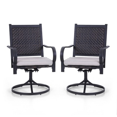 Rattan Wicker 360 Swivel Patio Dining Chairs - Captiva Designs