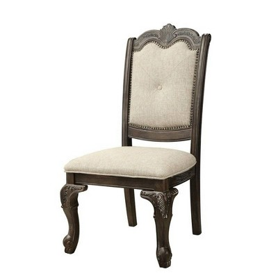 Set of 2 Button Tufted Fabric Seat Traditional Side Chairs Light Gray - Benzara