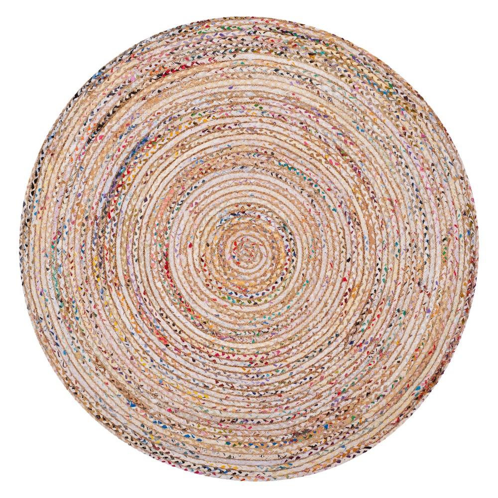5' Stripe Woven Round Area Rug Beige - Safavieh, Beige/Multi-Colored