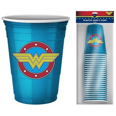 Silver Buffalo DC Comics Wonder Woman Logo 18oz Disposable Plastic Party Cups   20 Pack