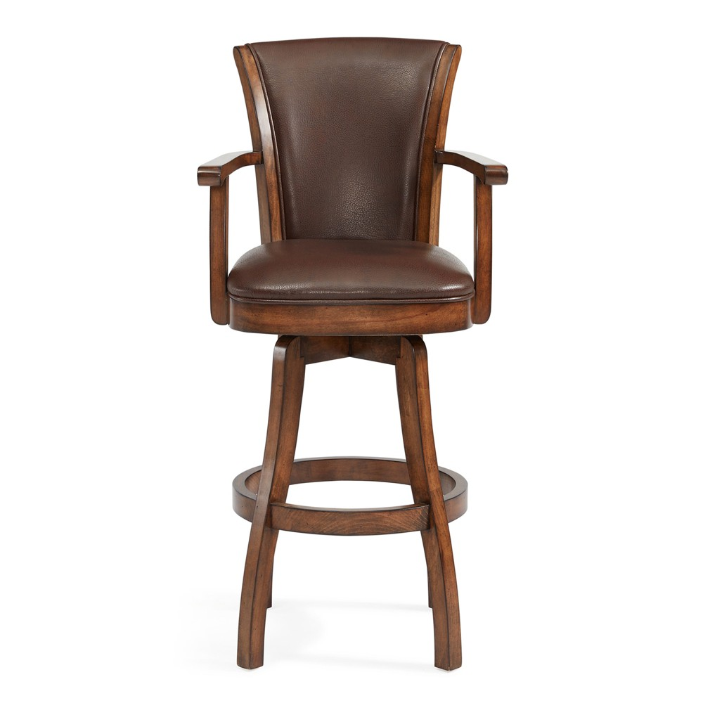Raleigh Swivel Counter Stool with Arms - Kahlua - Armen Living, Brown