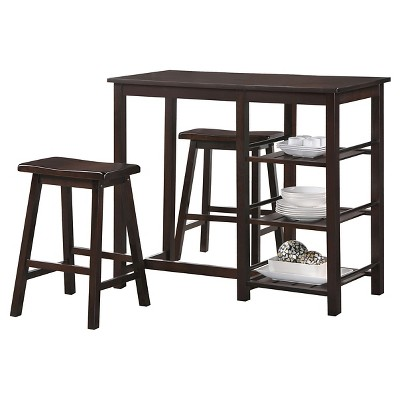 3 Piece Nyssa Counter Height Dining Set Wood/Walnut - Acme