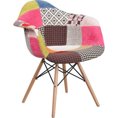 Alonza Series Fabric Chair with Arms and Wooden Legs Milan Patchwork - Riverstone Furniture Collection