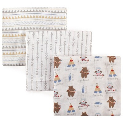 Luvable Friends Unisex Baby Muslin Cotton Swaddle Blanket - Tribe One Size