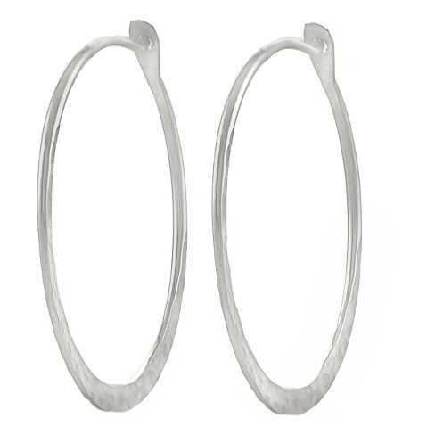 Women's Journee Collection Sterling Silver Hammered Hoop Earrings - Silver (30mm) - image 1 of 2