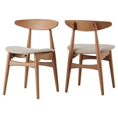 Set of 2 Cortland Danish Modern Natural Dining Chair - Inspire Q