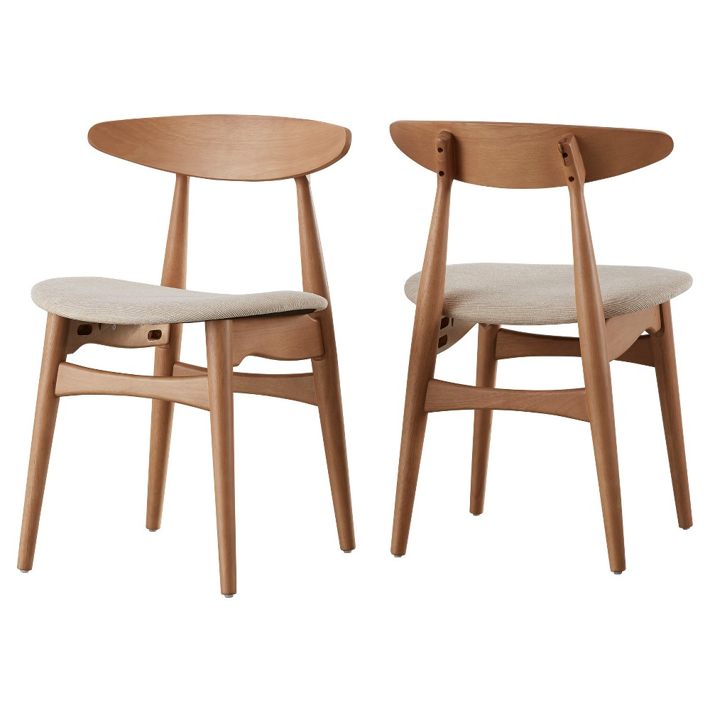 Image of Set of 2 Cortland Danish Modern Natural Dining Chair Natural/Beige - Inspire Q
