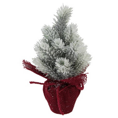 Dd Christmas.Northlight 9 Flocked Mini Pine Christmas Tree With Berries In Red Burlap Pot