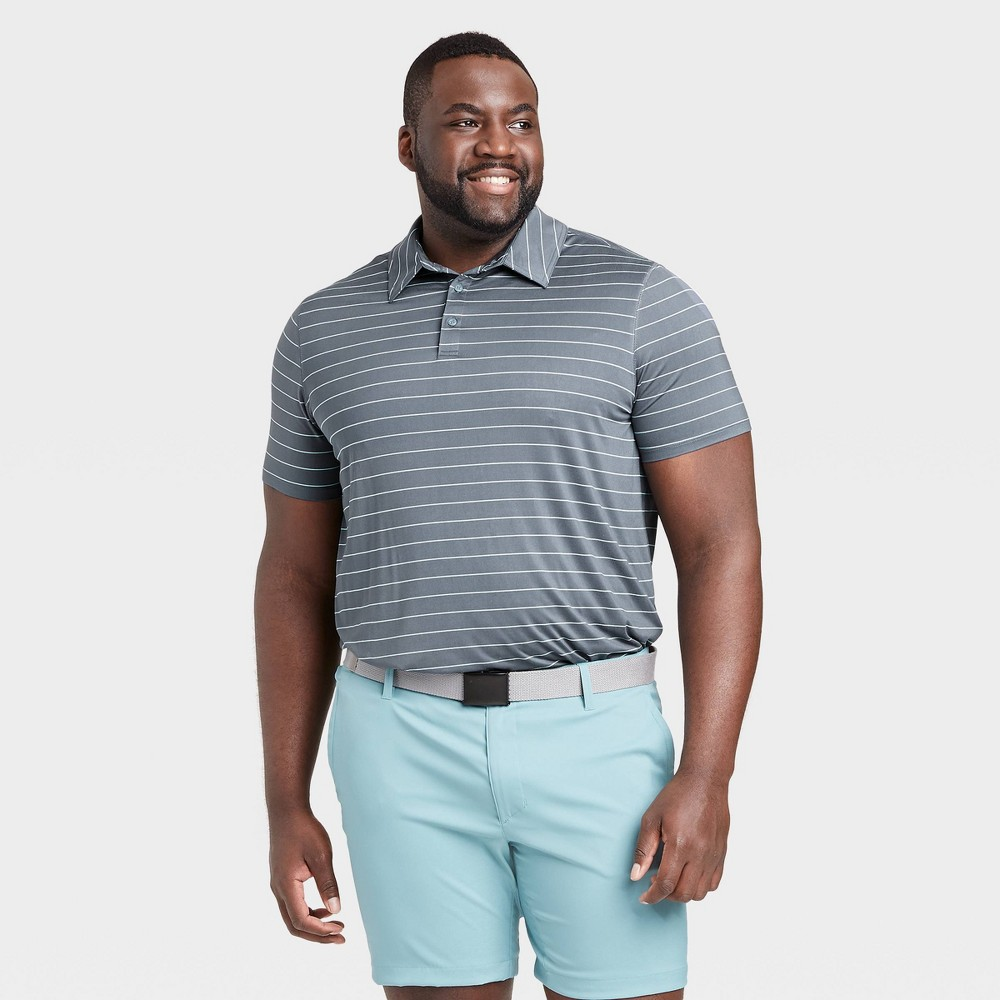 Men's Striped Golf Polo Shirt - All in Motion Charcoal XXL, Grey was $24.0 now $12.0 (50.0% off)