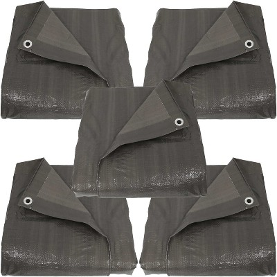 Sunnydaze Decor 5pk Waterproof Multi-Purpose Poly Tarp - 12' x 16' - Dark Gray
